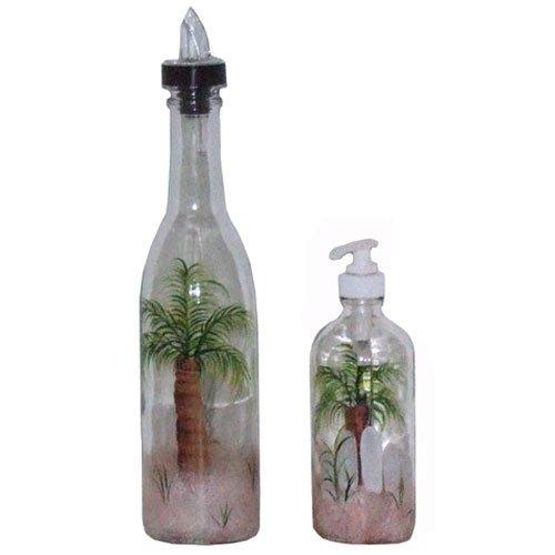 ArtisanStreet Palm Tree Design Pour Bottle & Soap Pump Dispenser Set. Hand Painted