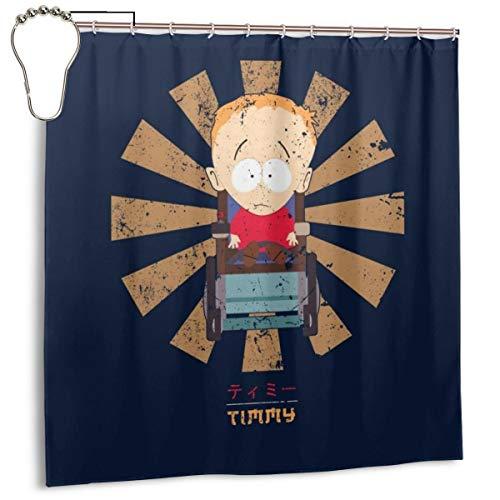 GSEGSEG Cortina de Ducha de Tela de poliéster Impermeable Timmy Retro japonés South Park impresión Decorativa Cortina de baño con Ganchos, 72 Pulgadas x 72 Pulgadas