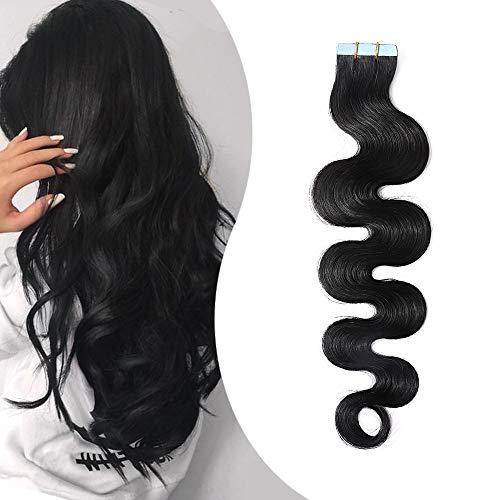 Extension Adhesive Cheveux Naturel Ondulé Ruban Adhesif Rajout Cheveux Humain Remy 20 Pcs 50g (#1 NOIR FONCE, 40CM)
