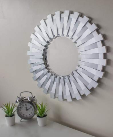 HomeZone Large Modern 50cm Round Silver Sunburst Statement Wall Mirror Decorative Wall Mounted Hanging Bathroom Bedroom Livingroom Hallway Contemporary Home Decor