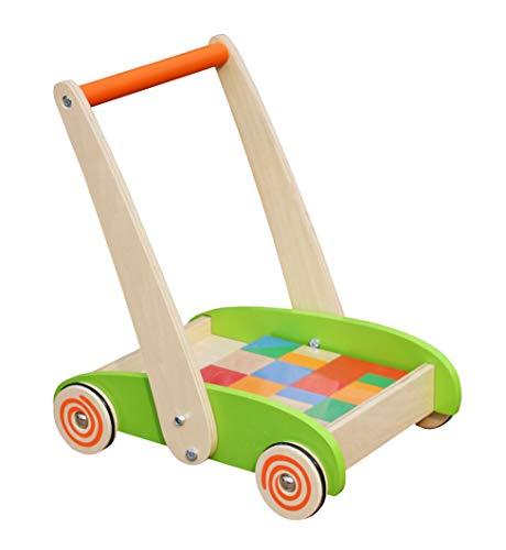 Cuddlez Lauflernwagen mit Blöcken - Natürliche Lauflernhilfe für Babys und Kinder, spielerisch Laufen Lernen, Motorik Spielzeug ab 12 Monate