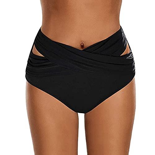 Jamicy Damen Bikini Hose Sexy High Waist Bikinihose Shape Damen Bikini Unterteil High Waist Schwarz Bikini Shorts Damen Classic Bikini Swimsuit Bottom Hohe Taille Slip Damen Badeanzug Bauchweg Shorts