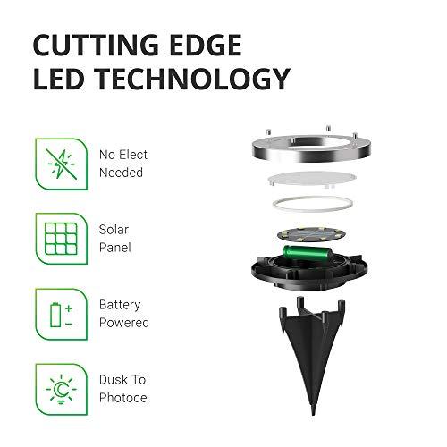 Sunco Lighting 24 Pack Solar Path Lights, Dusk-to-Dawn, 7000K Diamond White, Cross Spike Stake for Easy in Ground Install, Solar Powered LED Landscape Lighting - RoHS/CE