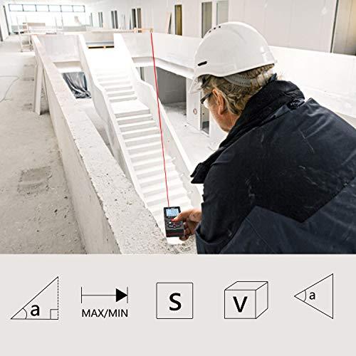 レーザー距離計レーザー測距計60Mシングル/連続測定、表面/体積測定/間接測定4行表示LCD液晶高精度防塵防水耐衝撃