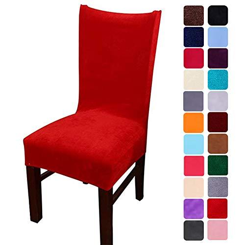smiry Velvet Stretch Esszimmer Stuhlhussen, Weiche abnehmbare waschbar Esszimmerstühle Schonbezüge, 4er Set, Rot