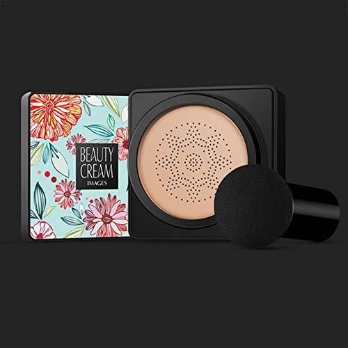 Air Cushion BB Cream CC Cream Mushroom Head Foundation, Corrector Hidratante Base De Maquillaje Brillante De Larga Duración Con Esponja De Maquillaje De Hongos Fácil De Aplicar Para Mujeres