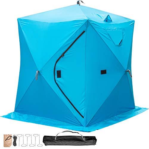 VEVOR Refugios de Pesca en Hielo Tienda de Pesca de Invierno Tienda de Refugio Portátil Impermeable Carpa Tienda de Pesca de Hielo para 2 Personas Color Azul