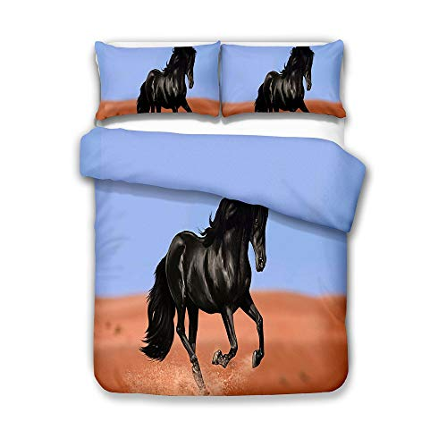ZXXFR Duvet Cover Set Printed Animal running black horse,Bedding Quilt Cover Soft Breathable for Girls Boys 3 Pieces (1 Duvet Cover + 2 Pillow cases)-140x200CM