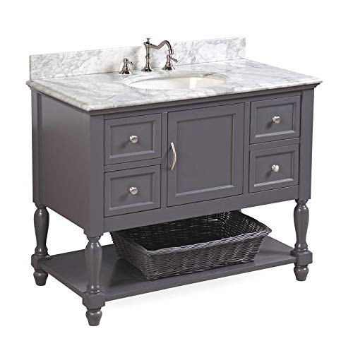 Beverly 42-inch Bathroom Vanity (Carrara/Charcoal Gray): Includes Charcoal Gray Cabinet with Authentic Italian Carrara Marble Countertop and White Ceramic Sink