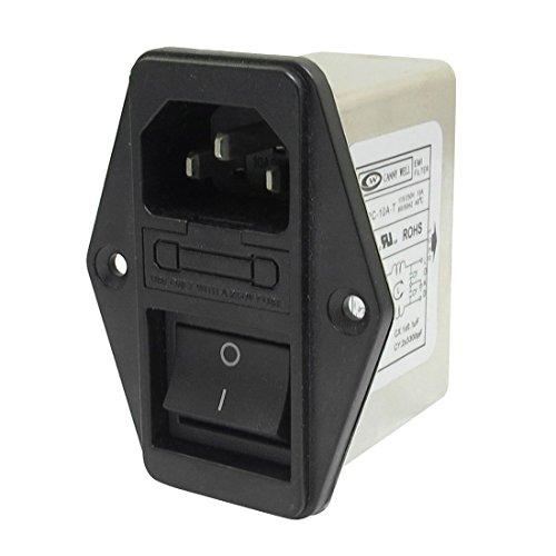 TOOGOO Loetoesen IEC 320 C14 EMI Filter + Boote Schalter + Sicherungshalter