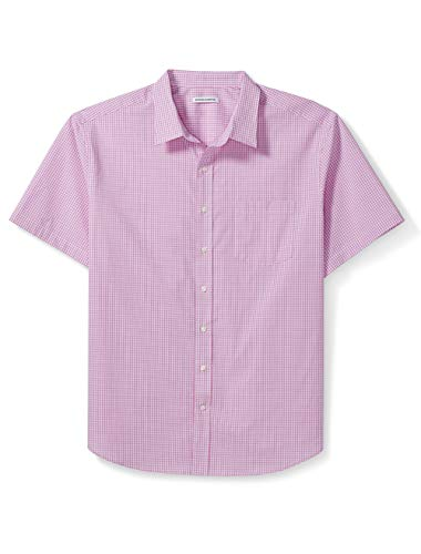 Amazon Essentials Men's Big & Tall Short-Sleeve Gingham Shirt fit by DXL, Pink, 2X