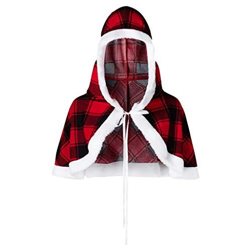 Smony - Christmas Weihnachtlicher roter Karo-Umhang für Damen, für Weihnachten, Party, Übergröße, mit Kapuze, Karomuster Gr. XXX-Large, rot