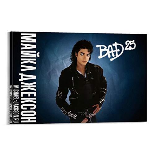 FANTSH Michael Jackson Hd Images Bad Poster Pintura Decorativa Lienzo Arte de la Pared de la Sala de estar carteles Dormitorio Pintura 20x30 pulgadas (50x75cm)