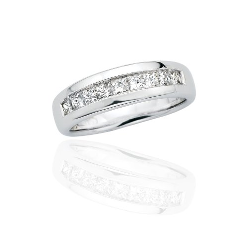 14K White Gold 3/4 ct. Princess Cut Diamond Men's Wedding Band