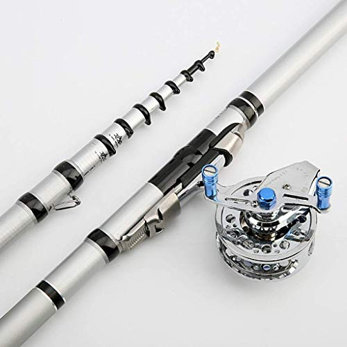 l.e.i. Fishing Rod Fishing Rod Fishing Rod Combo Set Carbon Telescopic Fishing Rod Telescopic Fishing Rod and Reel Combo Complete Kit Fishing Tools (Size:6.3 Meters)
