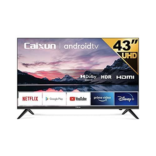 Caixun EC43S1A UHD 4K Smart TV, 43 Pouces 108cm, Android 9.0 Téléviseur, Triple Tuner, HDR 10, Bluetooth (Prime Video,Netflix,Youtube,Google Assistant,Google Play Store)