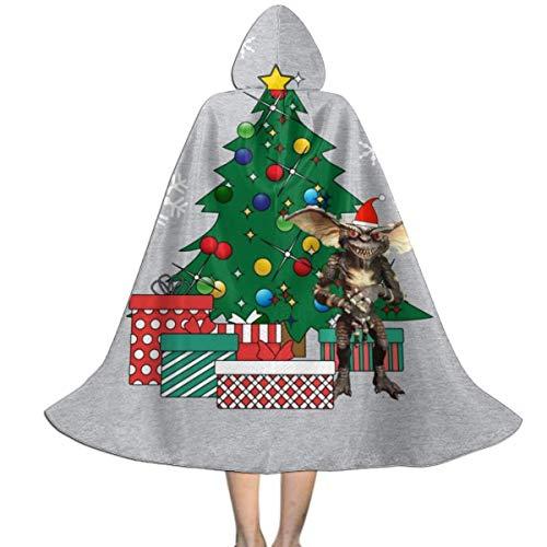 NUJSHF Gremlin Around The Christmas Tree Unisex Kinder Kapuzenumhang Umhang Cape Halloween Weihnachten Party Dekoration Rolle Cosplay Kostüme Outwear