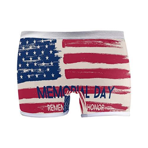 FANTAZIO American Flag Memorial Day Basics Damen-Boxershorts Gr. 3-4Jahre, 1