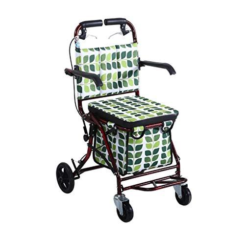 CHenXy ältere Wanderer, Faltbare Einkaufstasche mit Rollen beweglich, grün medizinische Walker (Color : B)