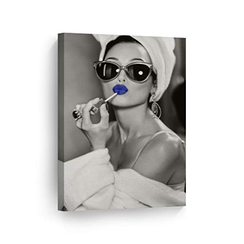 SmileArtDesign Audrey Hepburn Style Wall Art Blue Lips Canvas Print Lipstick Makeup Iconic Pop Art Beauty Black and…