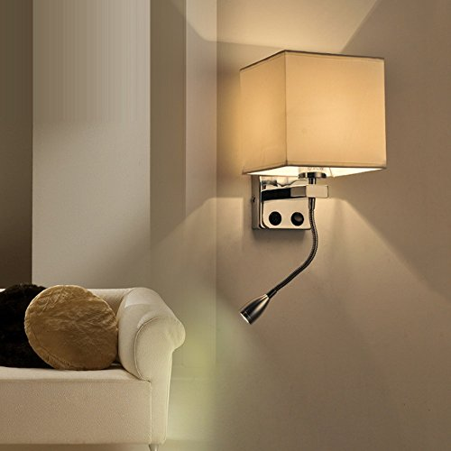 BDS Applique Murale Minimaliste Moderne pour Escalier Hôtel Salon Chambre Allée LED Applique Murale avec Interrupteur avec Liseuse (Couleur : Blanc-A)