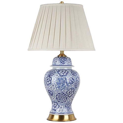 LG Snow Azul y blanco cerámica lámpara de mesa sala de estar lámpara de noche retro cobre completo decoración dormitorio 40x70cm