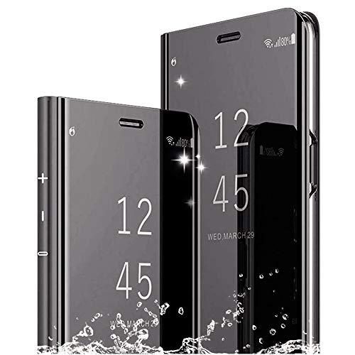 DAYNEW Für Sony Xperia XZ3 Hülle Handytasche,Sony Xperia XZ3 Spiegel Hülle Schutzhülle,Slim Fit Mirror Make-Up Clear View Booklet Case Cover Etui für Sony Xperia XZ3-Schwarz