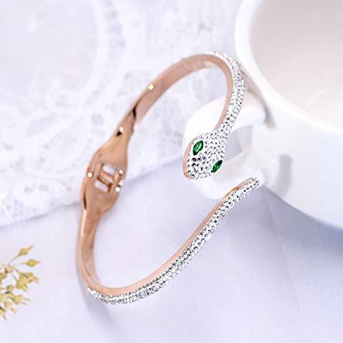 pulsera de serpiente en forma de c, acero de titanio, joyería de mano personalizada, pulsera abierta femenina, joyería de oro rosa, regalo del día de la madre