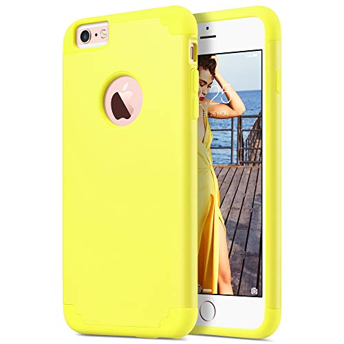 ULAK Slim Protective Case Compatible iPhone 6 Plus, iPhone 6S Plus Hybrid Soft Silicone Hard Back Cover Anti Scratch Bumper Case (Yellow) -  ULAKUACC019G037
