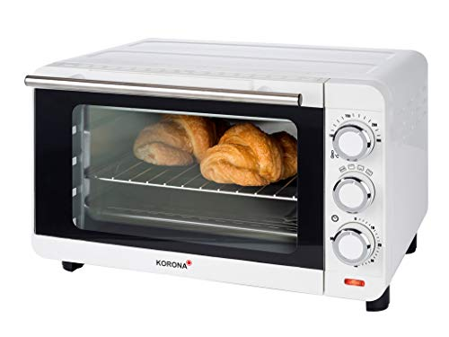 Korona 57004 Horno tostador | blanco | 14 litros | Mini horno con bandeja recogemigas extraíble | Horno pequeño | 1200 vatios