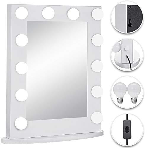 Bisujerro Espejo de Maquillaje con Luz 65x50cm Espejo de Maquillaje con 12 Luces Led Espejo para Maquillaje Led Vanity Makeup Mirror (65x50cm 2 Luces Blanco)