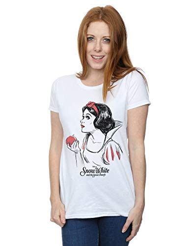 Disney Damen Snow White Apple Sketch T-Shirt Weiß Large