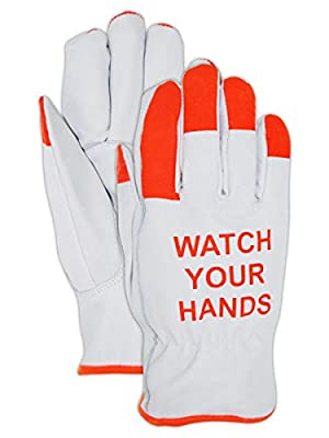Magid Hi-Viz Watch Your Hands Goatskin Leather Driver Glove (1 Pair)