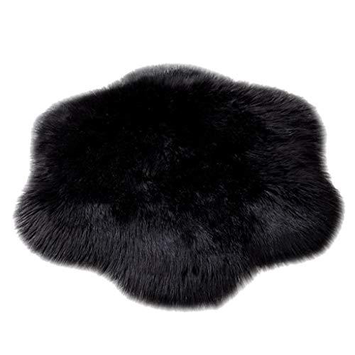 Tireow - Alfombra de suelo para dormitorio, salón, alfombra de piel de oveja de imitación de lana, alfombra de alfombra de pelo antideslizante, Negro, 60 x 60cm(23.62 x 23.62inch)
