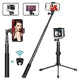 MATONE Perche Selfie, 2 en 1 Extensible Bluetooth Selfie Stick Trépied avec Télécommande Détachable, Bâton Selfie Monopode...