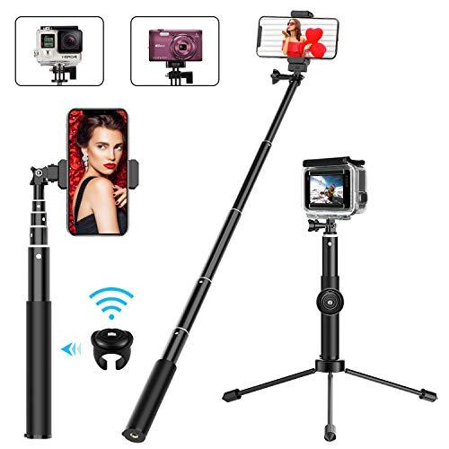 Bovon Handy Stativ, 85CM Ausfahrbarer Selfie Stick Stativ, Bluetooth Selfiestick mit Bluetooth-Fernauslöser, Einbein-Stative für alle Smartphones mit der Breite von 5.5-8.5 cm und Gopro Action Kamera