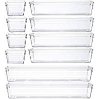 10-Pieces S&Z Clear Plastic Drawer Organizer Tray with Silicone Pads