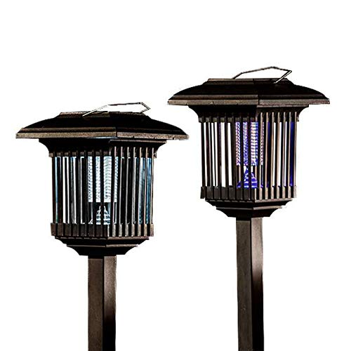 solar zapper - enhanced outdoor flight insecticidal device - hanging or fixed on the ground - Wireless garden lamp - Portable led machine - mosquito / moth / fly best stinger (black)Violet Blue 2 Pack