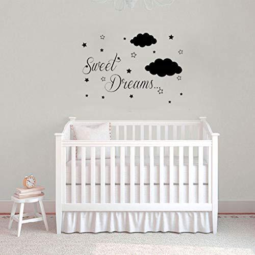 WERWN childrenWall Sticker Decal Sweet Dreams Pegatinas de Pared para Habitaciones de niños Cloud Star Art Mural Decoración del hogar Accesorio Impermeable 57 * 82cm
