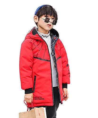 SG-TECH Manteau Gar篮 Hiver Coton pour Gar篮 Coupe-Vent ࠃapuche pour Enfant Veste Chaude Spiderman Dessin Anim頄ouble Face,140,Rouge