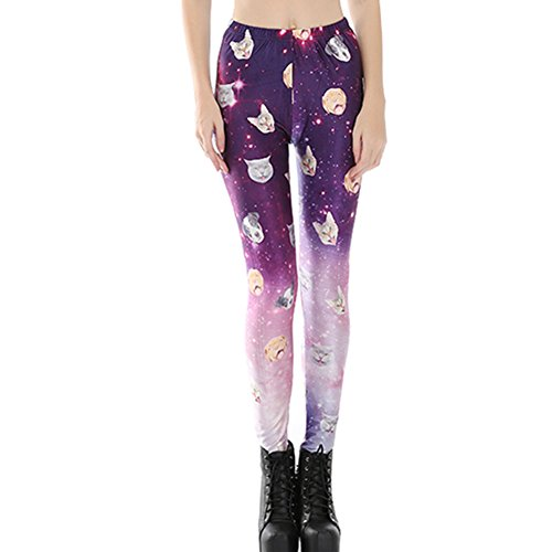 Joyhy Women's Elastic Waist Stretchy Printed Leggings Pants Footless Tights Cat & Dog