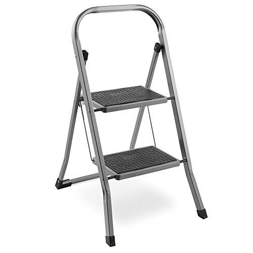 VonHaus Escalera De Acero de 2 Escalones - Antideslizantes - Diseño Plegable Fácil De Guardar - Ideal Para El Hogar/Cocina/Garaje