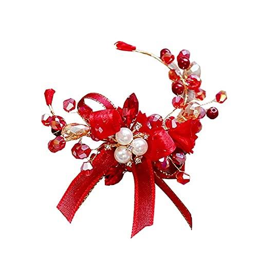 XiaoYing Accesorios de boda boda novia perla muñeca flor dama de honor cristal ramillete nupcial pulsera flor (color: rojo, tamaño: M)