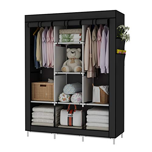UDEAR Portable Wardrobe Closet Clothes Organizer Non-Woven Fabric Cover with 6 Storage Shelves, 2 Hanging Sections and 4 Side Pockets,Black