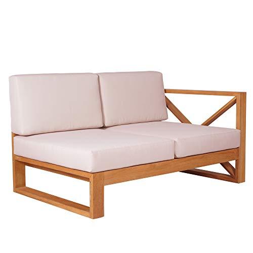 Teako Design Outdoor Sofa Molveno Seitenteil rechts mit Auflagen Teakholz Wetterfest robust unbehandeltes Massivholz