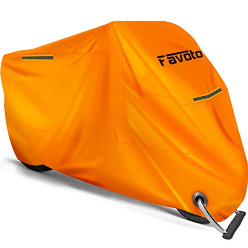 Favoto Motorcycle Cover Waterproof Outdoor Safe Orange Color Thicker Material Universal Sun Protection 3 Reflective Stripe Lockhole Storage Bag Fit up to 104 inch Vehicle