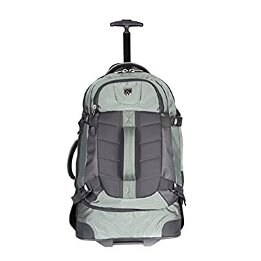 TPRC 23  AEROS Rolling Dual Tone Backpack with Laptop Compartment and EZ-Glide Ball Bearing Wheels, Olive Green Color Option