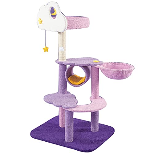 キャットタワー据え置き 広い見晴らし台 全麻縄巻き 屋内猫用キャットツリー、50インチマルチレベルキャットコンド、ペーパーロープスクラッチポスト付きの安定したキャットタワー、コンド、春のおもちゃ、2〜3キッテン用 接着力 安定性 転倒防止 組立簡単タイプ (Color : Purple-60x40x128 cm)