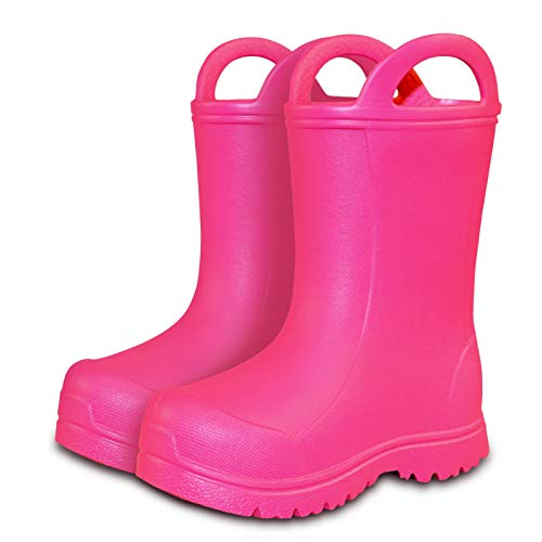 ALLWIN Kids Toddlers Rain Boots, Waterproof Slip Toddler Shoes, Lightweight with Easy-On Handles rain Boots for Boys Girls.