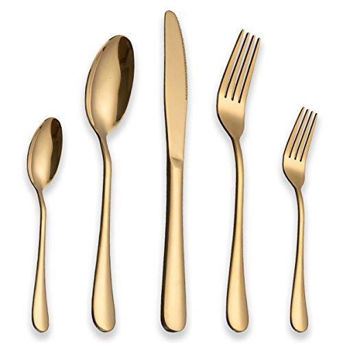 Berglander Edelstahl Besteck Set mit Titan vergoldet, glänzend, Golden Besteck Set, Gemischte Bestecksets, Besteck Set Service für 6, 30 Stück